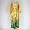 Robe de chambre en soie de couleur jaune et vert style Indien
