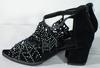 Chaussures Femme Noires Strass et imitation Velours P38