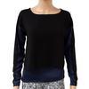 Top Tee shirt liquette Cop Copine T 36 Bicolore bleu de chine et noir