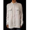 Neuf & étiquette chemise Monoprix T 44 en lin blanc rayures bleues