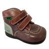 Chaussure montante Kickers bébé P 19 en cuir marron et vert amande
