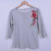 T-shirt à rayures et motif brodé - Femme - L