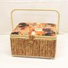 Boite à couture recouverte de tissus imprimés bambous et félins