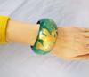 Bracelet rond en bois vert émeraude éléphant