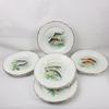 Lot de 11 assiettes plates Digoin Sarreguemines décor poisson