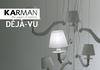 Lustre blanc brillant Karman Collection Déjà-Vu en céramique et lin pour éclairage indirect