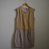 Robe bi-matière - Dorée - Femme - L