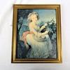 Déco murale-Petit tableau-Jeune fille à la rose-Encadré dorée-