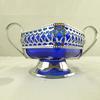 Sucrier vintage en verre bleu