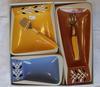 Coffret 3 Plats service apéritif années 1950 - 1970. Céramique