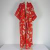 Robe de Chambre Japonaise en coton taille M de couleur rouge imprimé à fleurs