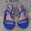 Sandales à talons bleu électrique en cuir - Femme - T38