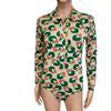 Body chemise vintage Blanche Porte imprimé graphique 60's / 70's