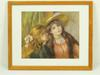 Peinture de deux filles se chuchotant au creux de l'oreille, bordures de type Marie-Louise,  encadré boisé