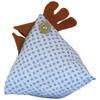 Poule Berlingot Tissu Paisley bleu et blanc 10x9cm