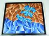 Grand tableau à forme abstraite triangulaire
