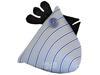 Poule Berlingot Tissu Gris à Rayures Bleues 10x9cm