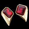 Boucles d'oreille Clips Bijou vintage métal doré & résine rouge