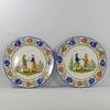 Série de deux assiettes peintes en faïence HB Quimper