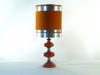 Lampe à poser vintage, orange et métal, année 1970, 60 cm