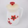 Carafe vintage en verre opaline fleurie et son couvercle