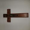crucifix mural en bois et laiton, christ en métal doré, croix religieuse, objet de dévotion, catholique, France 1950 1960 - INRI
