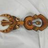 Clochette artisanale  hibou en bois et laiton - H 36 cm