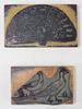Tampons à Encre 12 x 7 cm & 10 x 6 cm - Paon faisant la Roue & Couple de Faisans