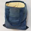 Matières recyclées : Tote bag 100% recyclé en jean doublé coton lignes vintage