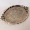 Plateau ovale en métal anses