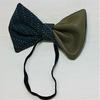 Zéro-déchet : Nœud pap' 3 en 1 - Cuir vert & tissu à motifs bleus