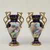 deux vases bleu et or style Alcobaça