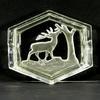 Ancien cendrier en verre moulé Art déco décor cerf satiné