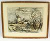 Aquarelle - Moulins de Bretagne (signée Gaston Girault/France, datée 1966)