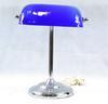 Ancienne Lampe De Bureau Notaire / Banquier Abat Jour En Opaline Bleu Outre-Mer (Années 70).