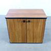 Armoire basse  en bois finition noyer 80x46x71cm - Marron et Noir