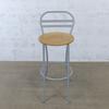 Chaises hautes cuisine  en mélamine - métallique finition chêne 40x40x103cm - Marron et Gris