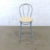 Chaises hautes cuisine  en mélamine - métallique finition bouleau 40x40x110cm - Marron et Gris