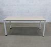 Bureau 160cm  en mélamine - métallique finition bouleau 160x80x70cm - Blanc