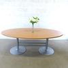 Table de réunion ovale  en mélamine - métallique  220x110x74cm - Marron et Gris