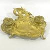 Ancien encrier porte plume baroque en métal doré