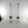 Lot de deux grandes bouteilles à eau de vie décor étain pur