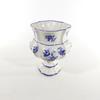 Vase décor fleurs bleues