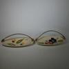 Enssemble de 2 Coupelles en Porcelaine W-Germany 930 Avec Poignée en Osier Décor Fleurie
