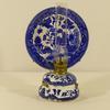 Petite lampe à huile ou à pétrole décorative style orientaliste en faïence