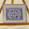Vide poches ou cendrier en porcelaine hongroise décor bleu fleurs et oiseaux exotiques