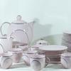 Ancien service à café et petit-déjeuner Art Déco en porcelaine fine de Bohème rose et argentée EPIAG