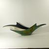 Grande coupe ou corbeille centre de table vintage Verceram en céramique blanc et noir/vert irisé