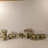 Service à thé en grès avec réchaud décor oiseaux