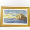 Cadre décoratif peinture marine île signée et peinte au couteau